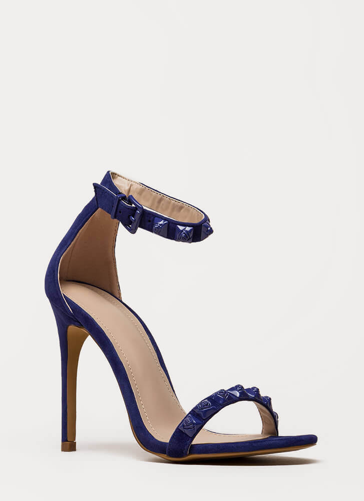 Coming Up Roses Strappy Studded Heels BLUE