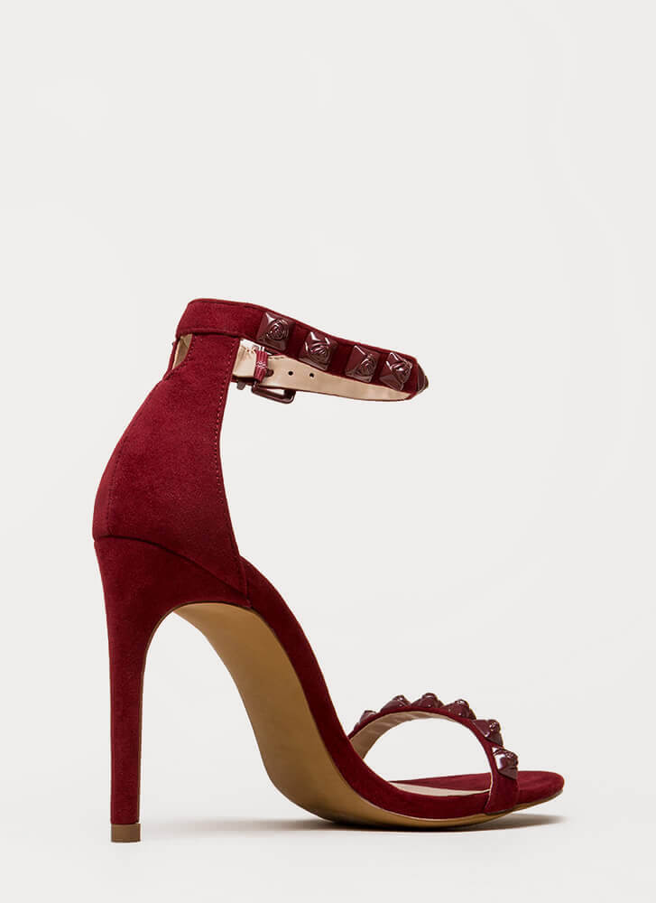 Coming Up Roses Strappy Studded Heels WINE