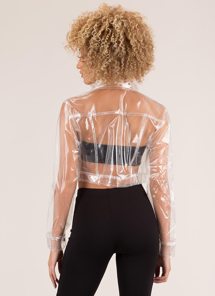 See Right Thru You Clear Cropped Jacket CLEAR
