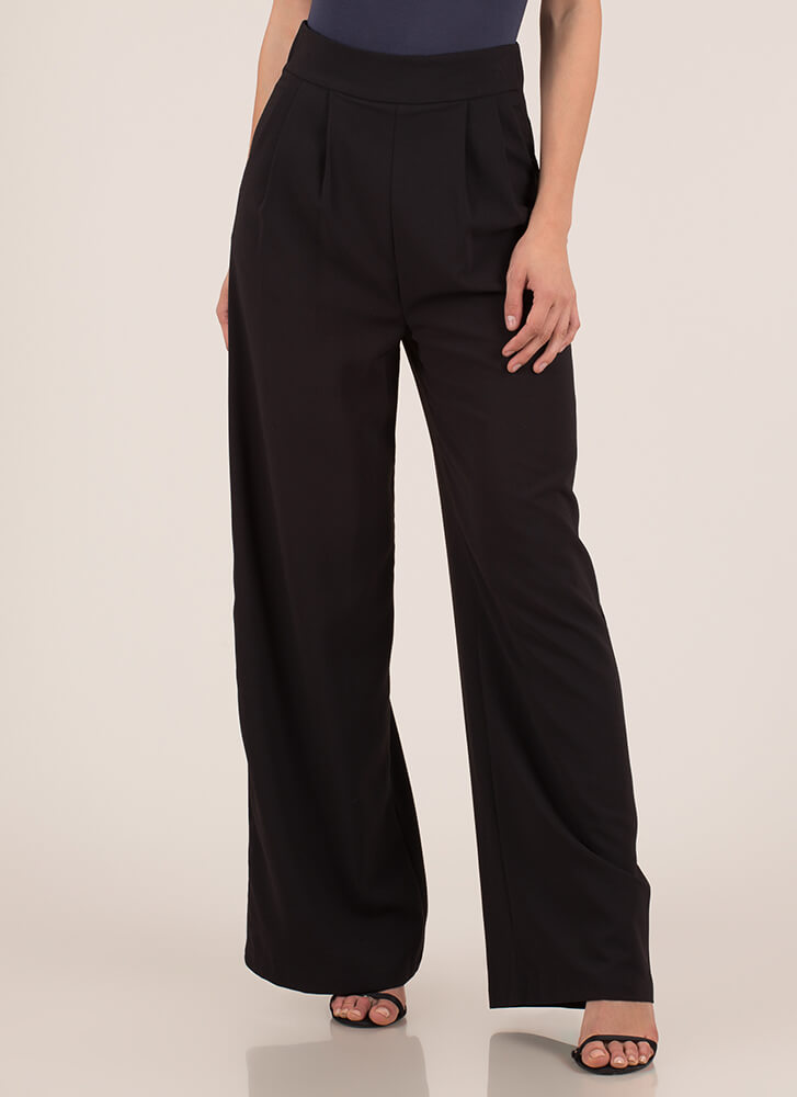 Wide Or Why Not Pleated Palazzo Pants BLACK