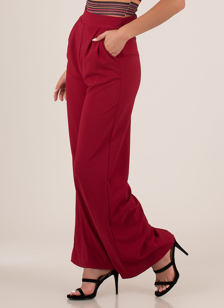 Wide Or Why Not Pleated Palazzo Pants BURGUNDY