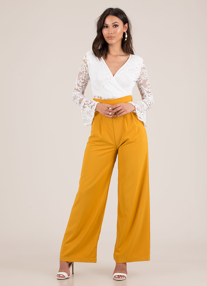 Wide Or Why Not Pleated Palazzo Pants MUSTARD