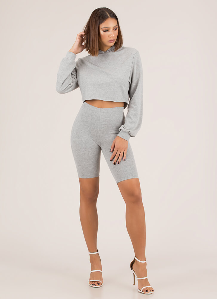 Act Casual Cropped Hoodie And Shorts Set HGREY