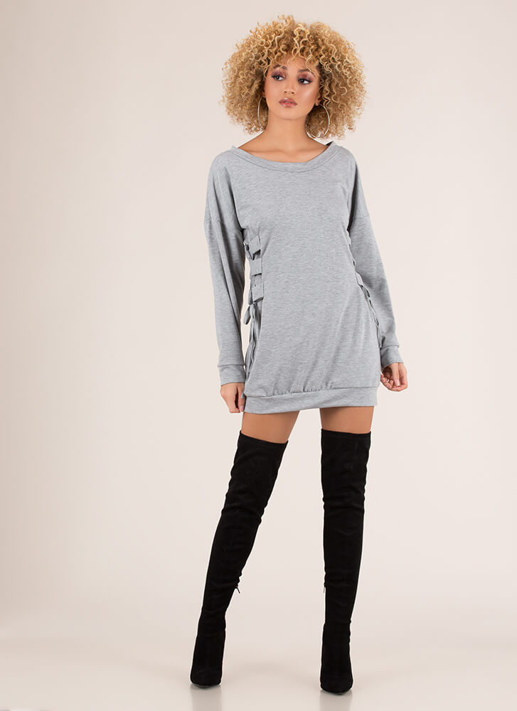 Laced The Test Sweatshirt Minidress HGREY (Final Sale)