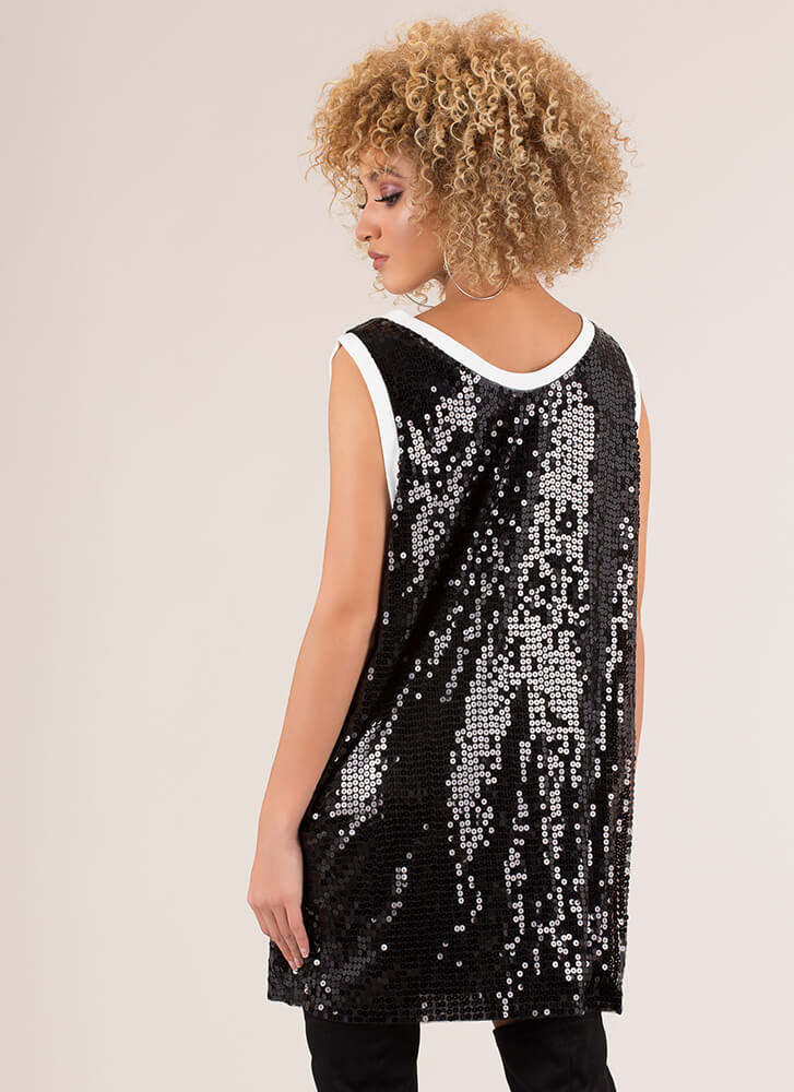 Hot AF Sequined Jersey Minidress BLACK