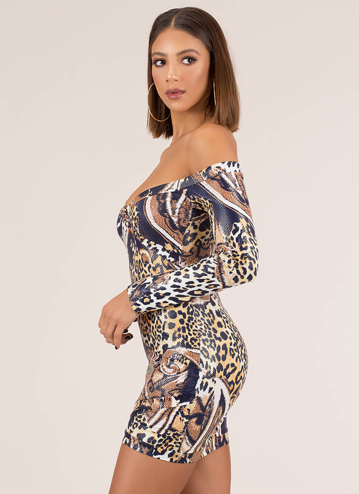 Animal Queendom Off-Shoulder Minidress LEOPARD (Final Sale)