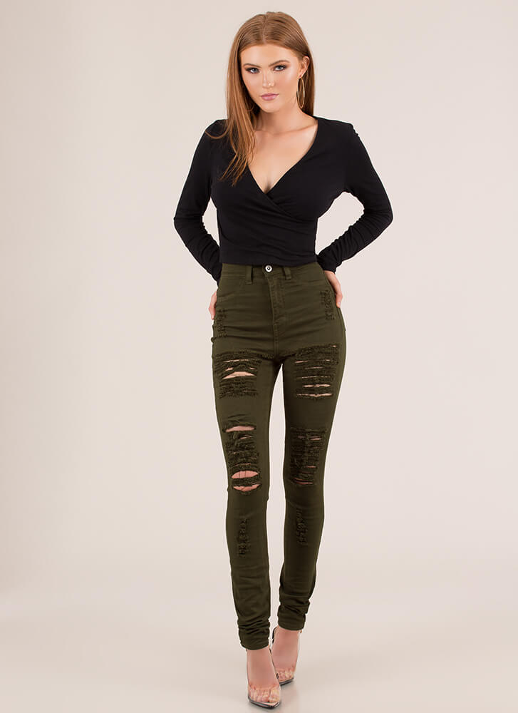 Basic Rights Cropped Surplice Top BLACK