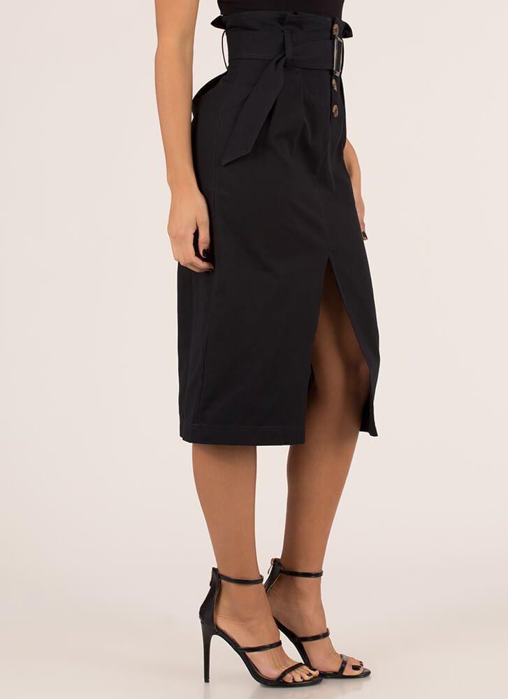 High Fashion Belted High-Waisted Skirt BLACK (You Saved $20)
