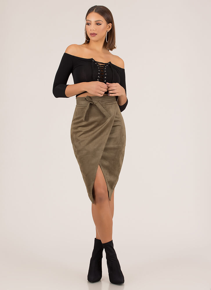 Buy Me Tulips Tied Faux Suede Skirt OLIVE