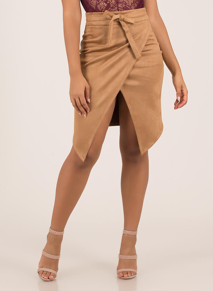 Buy Me Tulips Tied Faux Suede Skirt TAUPE