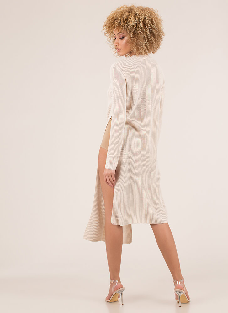 Do The Slits Knit High-Low Sweater CREAM (Final Sale)