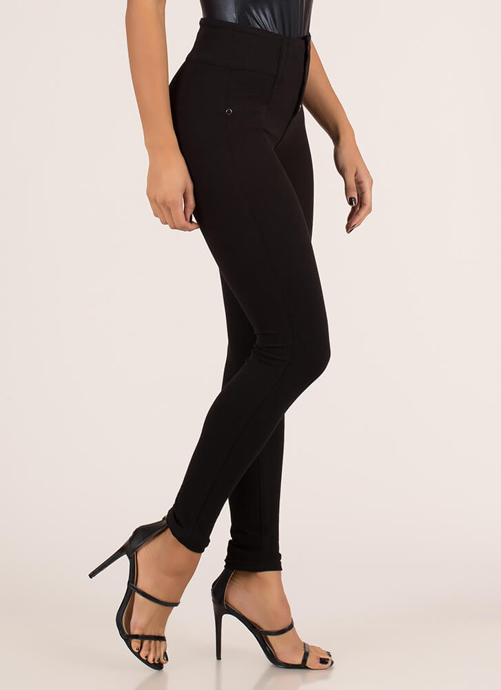 Hot Buttons High-Waisted Jeggings BLACK
