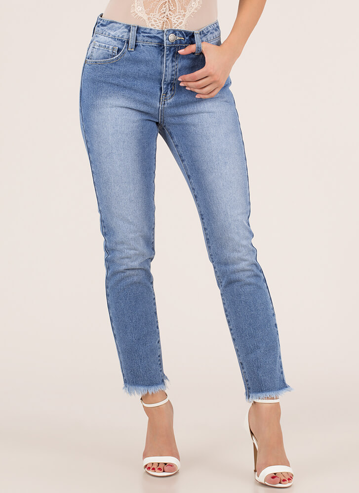 Cut-Off Time Distressed Fringed Jeans BLUE