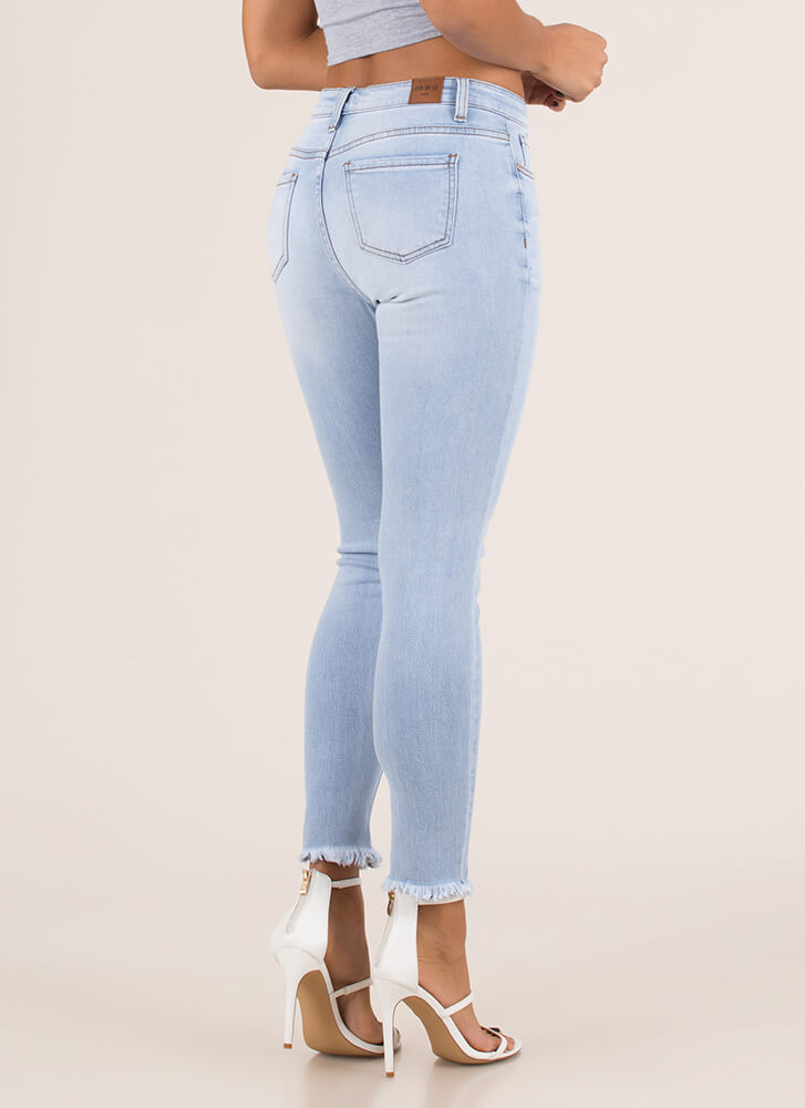 Make The Cut-Off Fringed Skinny Jeans LTBLUE