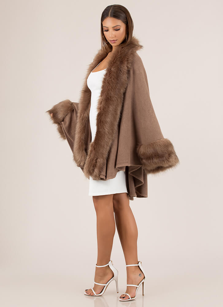 Lap Of Luxury Cuffed Faux Fur Duster TAUPE