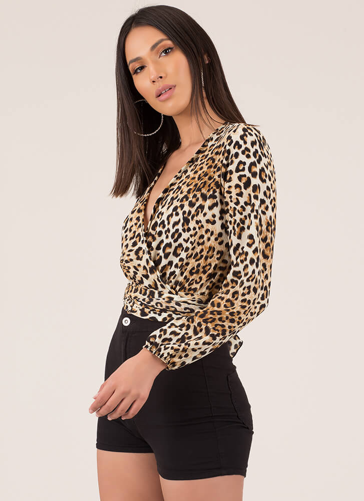 Out In The Wild Tied Leopard Crop Top LEOPARD