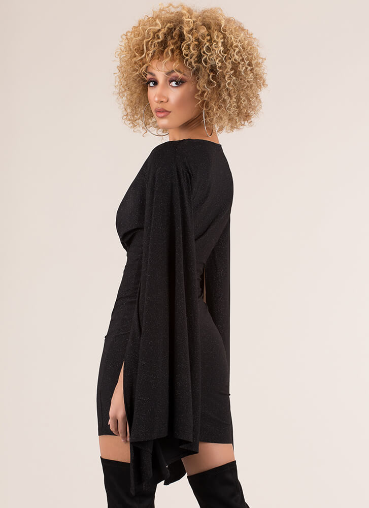 Waiting In The Wings Glittery Minidress BLACK