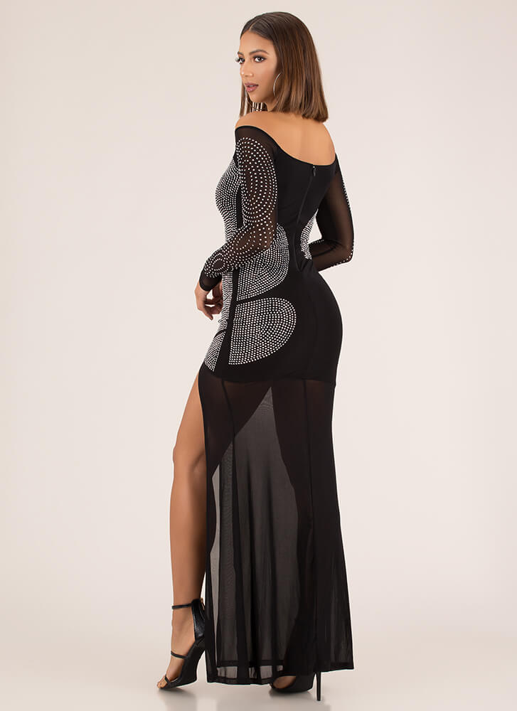 Sheer Brilliance Jeweled Mesh Gown BLACK