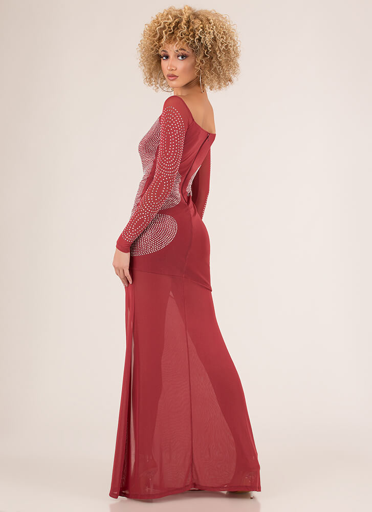 Sheer Brilliance Jeweled Mesh Gown PINK