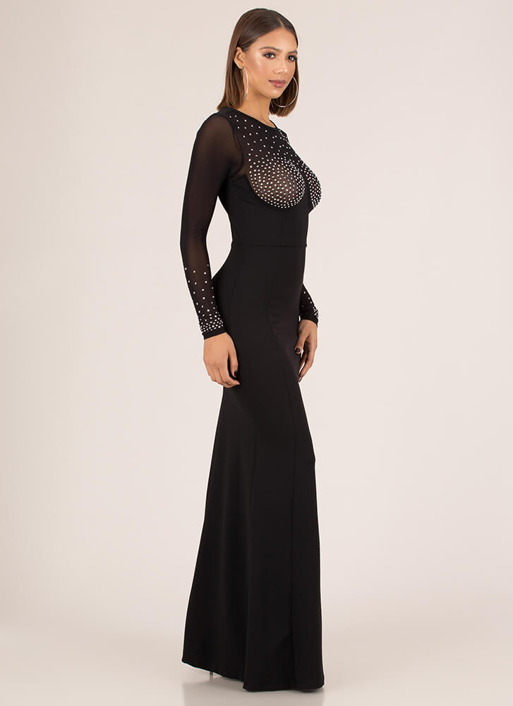Bust Dressed List Sheer Jeweled Gown BLACK