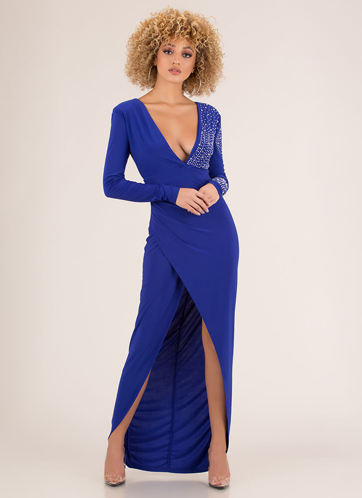 Special Sparkle Plunging Slit Gown ROYAL (Final Sale)
