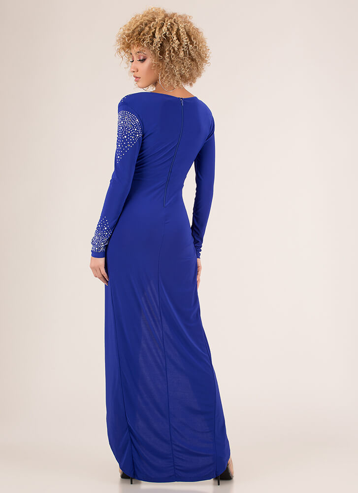 Special Sparkle Plunging Slit Gown ROYAL