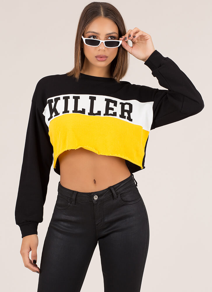 Killer Style Graphic Cropped Sweatshirt BLACKMULTI