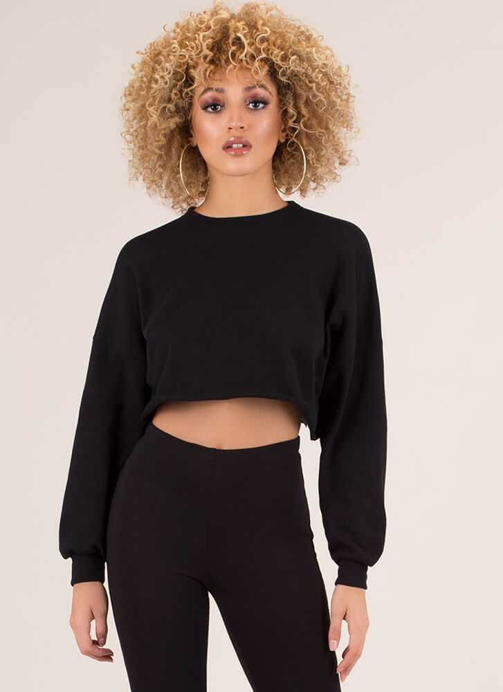 Trouble Cropped Graphic Sweatshirt BLACK