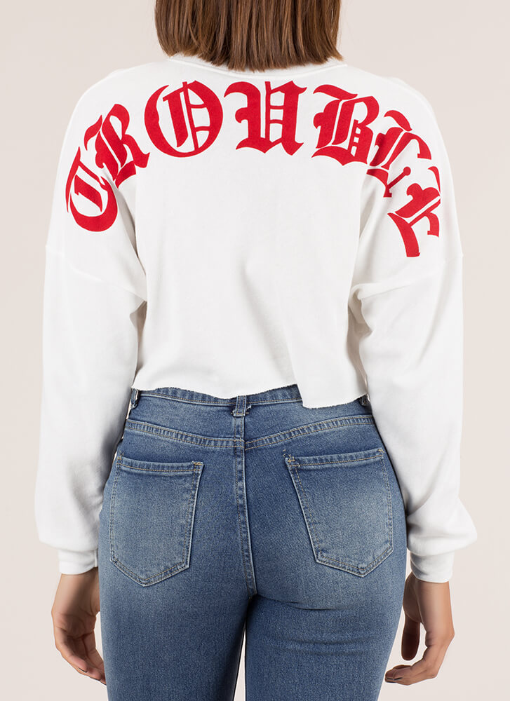 Trouble Cropped Graphic Sweatshirt WHITE
