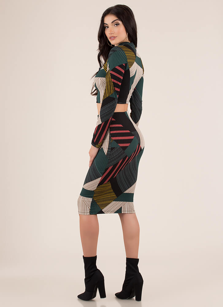 Lines And Shapes Geometric 2-Piece Dress HGREEN