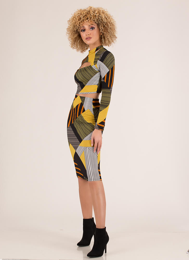 Lines And Shapes Geometric 2-Piece Dress MUSTARD