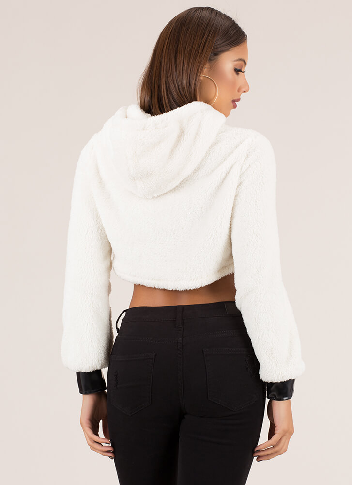 I've Got The Edge Cropped Fleece Hoodie IVORY