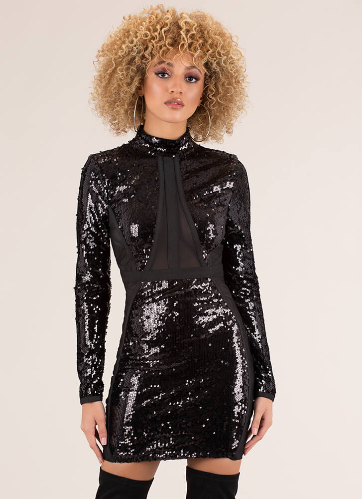 Just Brilliant Sequined Minidress BLACK