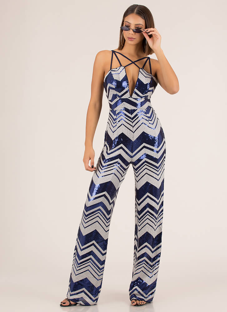 Strappy In Sequins Chevron Jumpsuit BLUEMULTI (Final Sale)