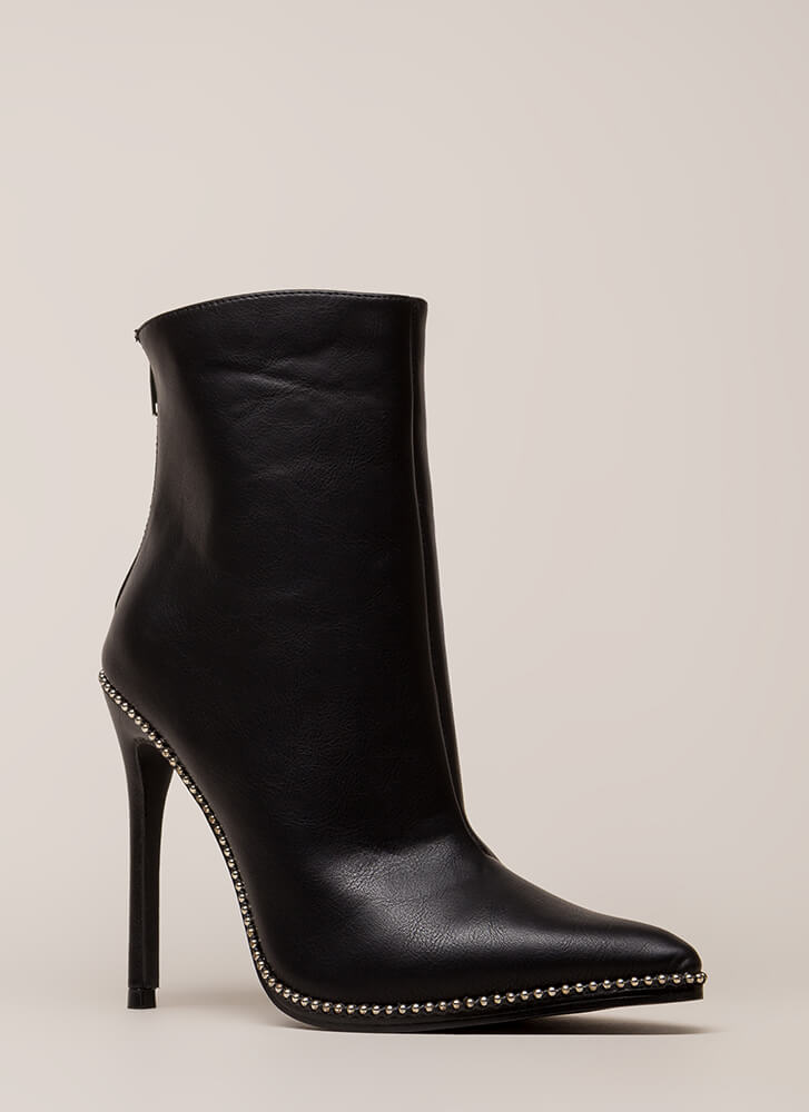 City Chic Pointy Studded Booties BLACK