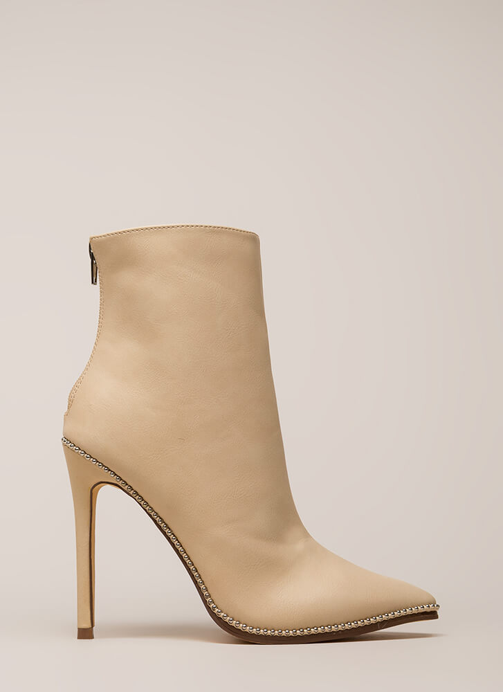 City Chic Pointy Studded Booties NUDE