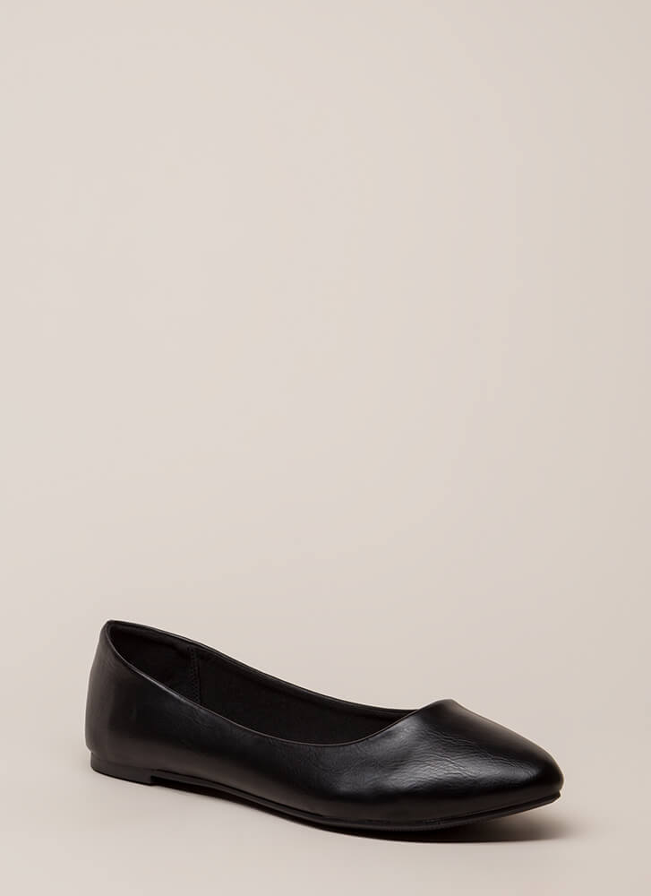 Everyday Wear Faux Leather Flats BLACK (You Saved $12)