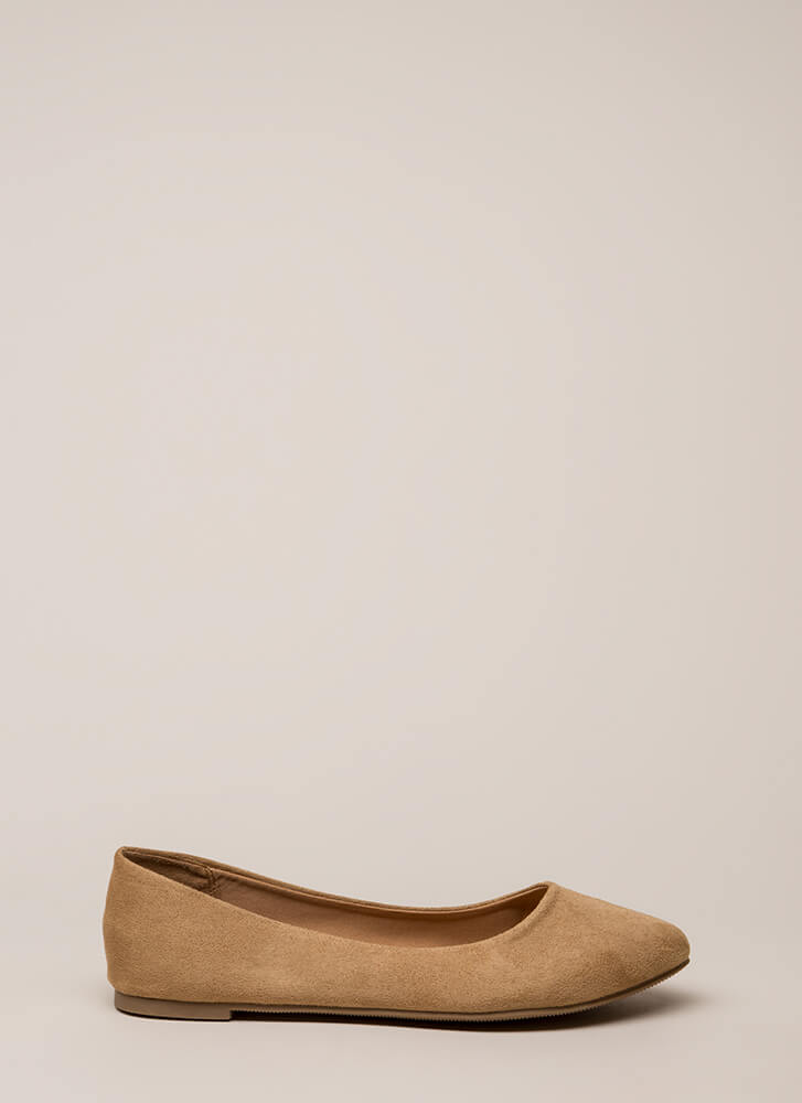 Everyday Wear Faux Suede Flats CAMEL