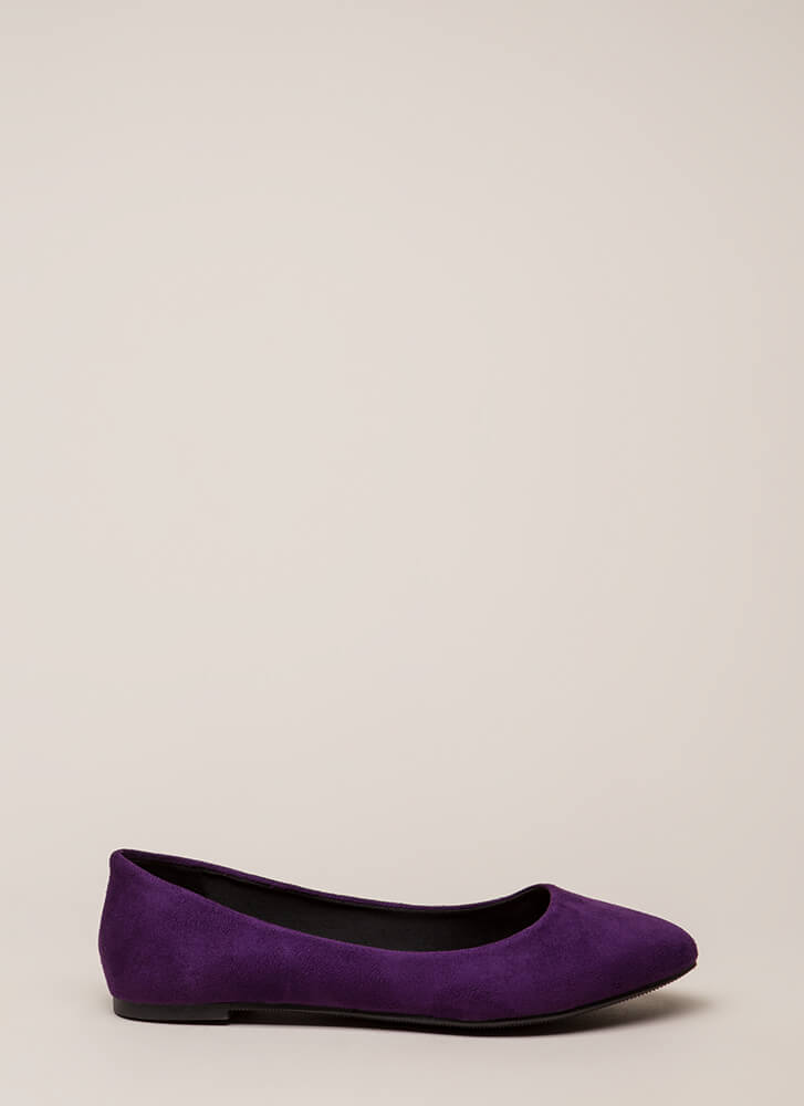 Everyday Wear Faux Suede Flats DKPURPLE