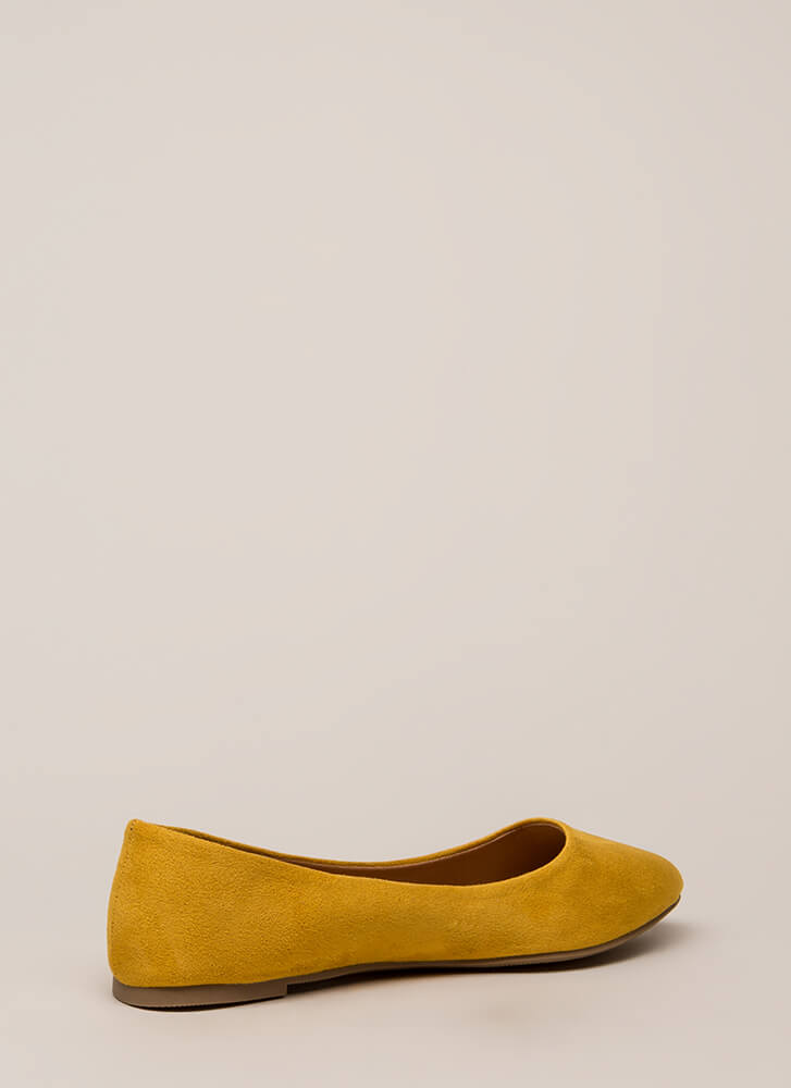 Everyday Wear Faux Suede Flats MUSTARD
