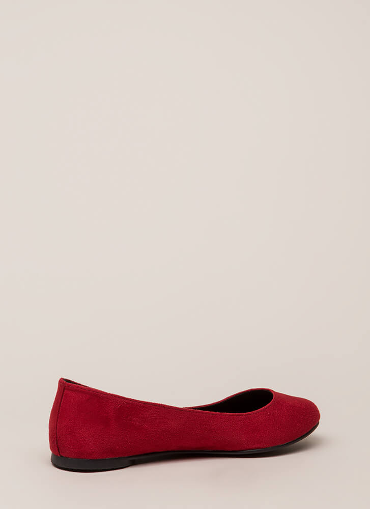 Everyday Life Faux Suede Ballet Flats BRIGHTRED