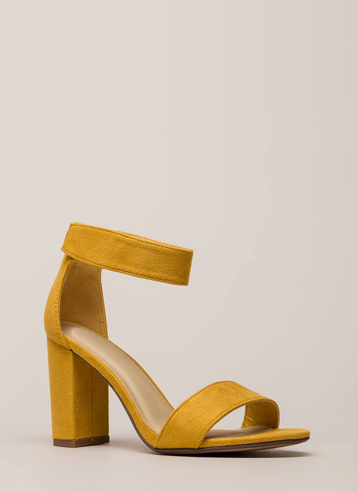 Take It Easy Chunky Faux Suede Heels MUSTARD