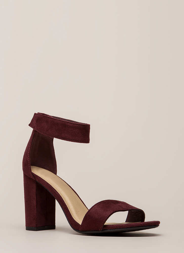 Take It Easy Chunky Faux Suede Heels VINO