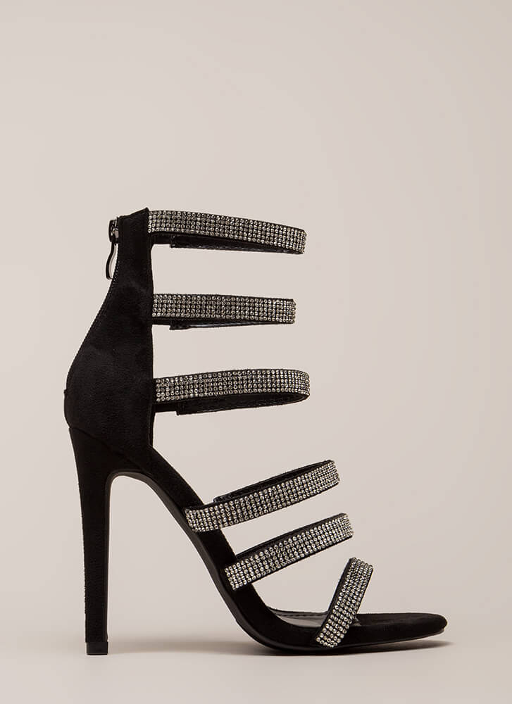 Bling It Faux Suede Jeweled Strap Heels BLACK