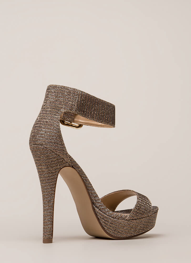 Glittery Glam Ankle Strap Platforms GOLD