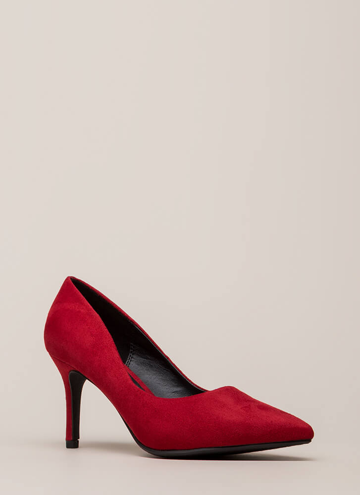 Point Of View Vegan Suede Pumps BRIGHTRED