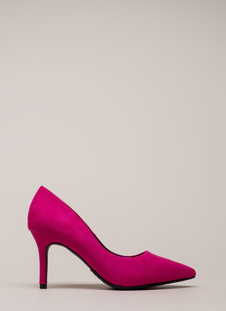 Point Of View Faux Suede Pumps HOTPINK