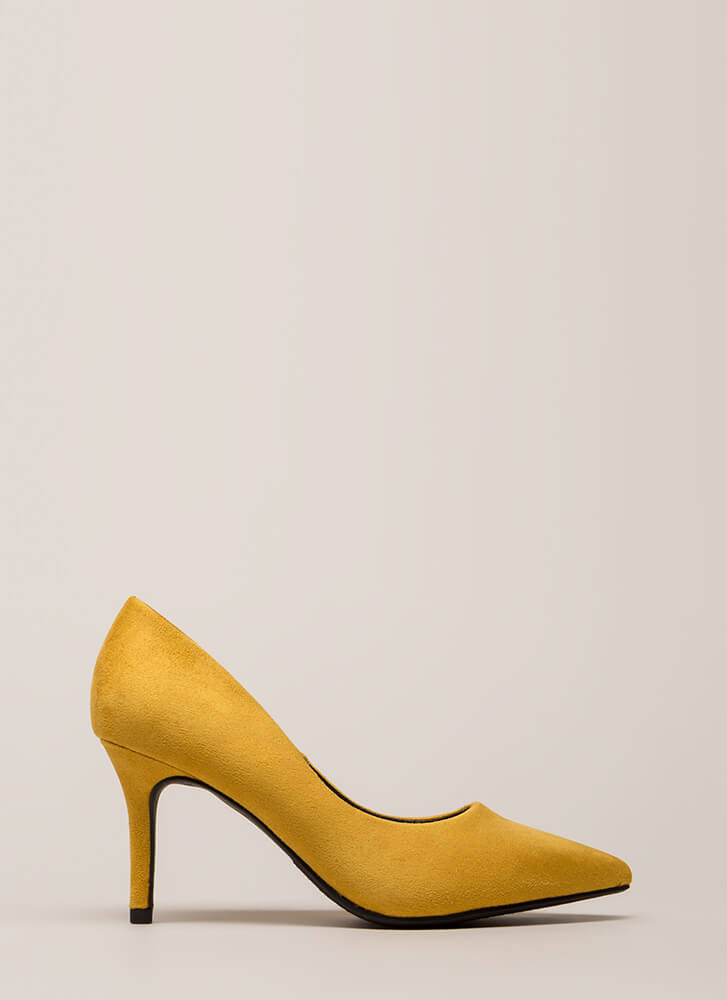 Point Of View Faux Suede Pumps MUSTARD