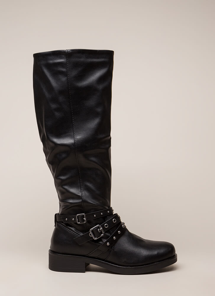 Stallion Strappy Studded Riding Boots BLACK