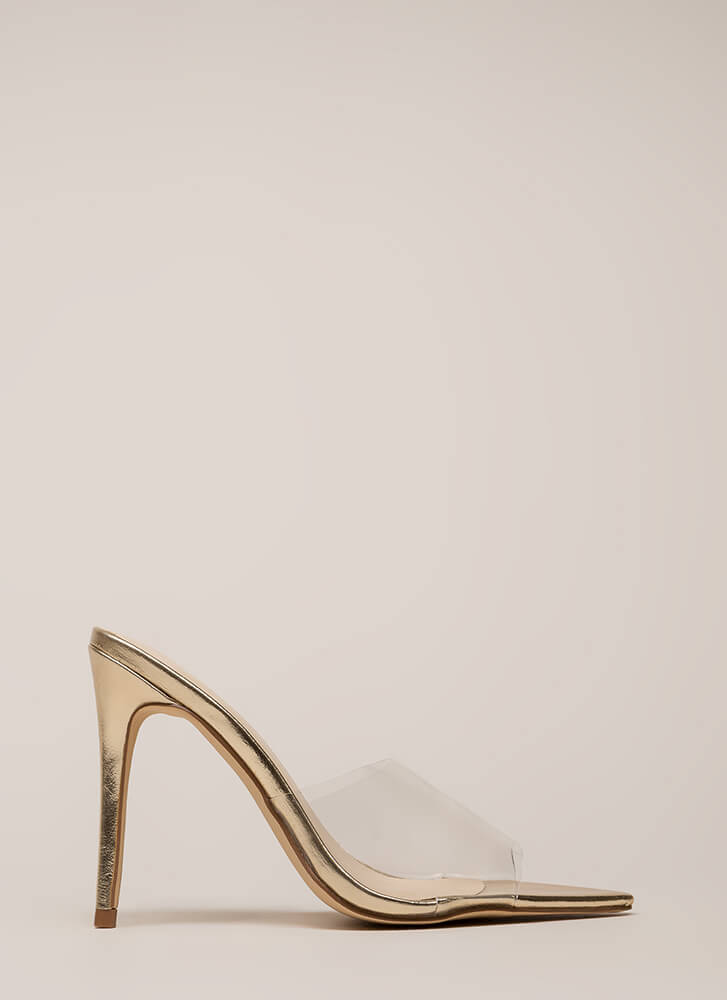 Exceptional Clear Peep-Toe Mule Heels CLEAR